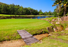 Golf field - island Praslin Seychelles Stock Photography