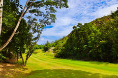Golf field - island Praslin Seychelles Royalty Free Stock Photography