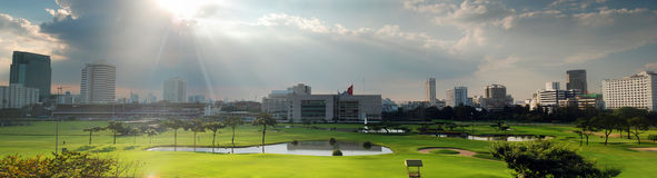 Golf field panorama Royalty Free Stock Photography