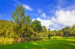Golf field at Seychelles. Golf field at island Praslin, Seychelles - sport background Royalty Free Stock Images