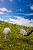 Golf field, sport equipment Stock Images