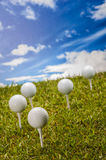 Golf field, sport equipment Royalty Free Stock Photos
