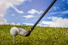 Golf field, sport equipment Stock Photo