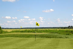 Golf field with yellow flags Royalty Free Stock Photos