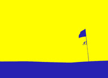 Golf flag. Abstract golf background, yellow and blue color Royalty Free Stock Images
