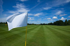 Golf flag active leisure. Golf flag club field grass course active leisure sky royalty free stock images