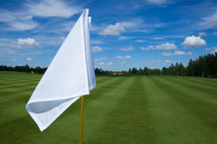 Golf flag active leisure. Golf flag club field grass course active leisure sky stock photo
