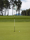Golf Flag And Ball On Course Stock Image