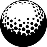 Golf Flag With Ball In Hole. Black and white illustration of a golf ball Stock Photos