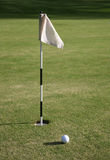 Golf flag and golf hole Royalty Free Stock Photo