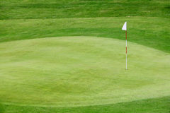 Golf flag on the green grass Stock Image