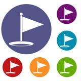 Golf flag icons set Royalty Free Stock Photo
