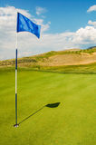 Golf Flag. Picture of a golf flag on a putting green in Canada Royalty Free Stock Photos
