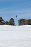 Golf Flag in the Snow. Flag on snow covered putting green with trees and blue sky Royalty Free Stock Photography