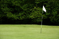 Golf flagpole. Flag pole on a golf green Royalty Free Stock Photos