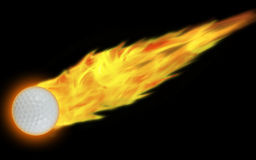 Golf(Flaming Ball). Illustration of a golf ball in flames on a black background vector illustration