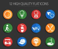 Golf 12 flat icons. Golf vector icons for web and user interface design vector illustration