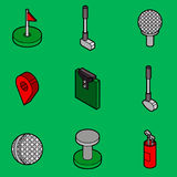 Golf flat outline isometric set Royalty Free Stock Photography