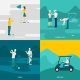 Golf Flat Set Royalty Free Stock Images