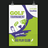 Golf flyer vector illustration. Tournament design invitation with hand drawn grunge elements. Easy to edit for your. Promotion Stock Image