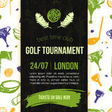 Golf flyer vector illustration. Tournament design invitation with hand drawn grunge elements. Easy to edit for your. Promotion Royalty Free Stock Images