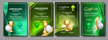 Golf Game Certificate Diploma With Golden Cup Set Vector. Sport Award Template. Achievement Design. Honor Background. A4 royalty free illustration