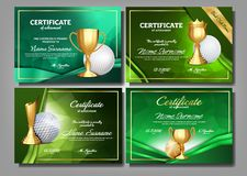 Golf Game Certificate Diploma With Golden Cup Set Vector. Sport Award Template. Achievement Design. Honor Background. A4 Horizontal. Graduation. Elegant vector illustration