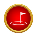 Golf game icon, simple style. Golf game icon in simple style in red circle. Sport symbol Royalty Free Stock Photography