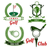 Golf game icons, emblems and symbols Royalty Free Stock Images