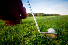 Golf gear on the golf field Stock Photos