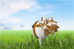 Golf. Gift Ball  Ball Bow Tee Sport royalty free stock images