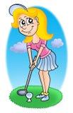Golf girl 2. Color raster illustration Royalty Free Stock Images