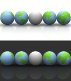 Golf and Globes. Golf ball in between earth globes Vector Illustration