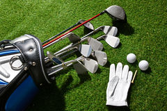 Golf glove,balls,tee and clubs in bag Royalty Free Stock Photography