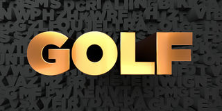 Golf - Gold text on black background - 3D rendered royalty free stock picture Stock Photos