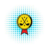 Golf golden award with clubs icon, comics style stock illustration