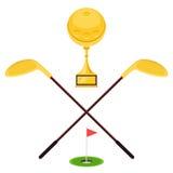 Golf Golden cup and putter. Emblem for golf with the Golden cup ball and putter and hole with a flag. Vector illustration label design Stock Photography