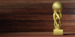 Golf golden trophy on wooden background. 3d illustration. Golf cup. Golf golden trophy isolated on wooden background, copy space. 3d illustration Royalty Free Stock Photography