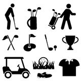 Golf and golf player icons. Golf and golf player icon set Stock Photos