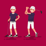 Golf. Golfer posing. Vector illustration. Golf. Golfer posing with a stick, golfer shot. Vector illustration Royalty Free Stock Image