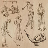 Golf and Golfers - Hand drawn vectors Royalty Free Stock Photos