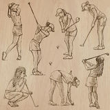 Golf and Golfers - Hand drawn vectors Stock Photography