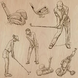 Golf and Golfers - Hand drawn vectors Royalty Free Stock Photography