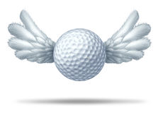 Golf and golfing symbol. Golf pro and golfing professional  symbol represented by a white golf ball with wings flying upwards showing the concept of golfing Royalty Free Stock Image