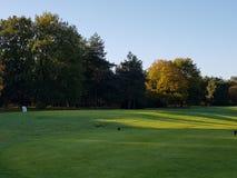 Golf-Golfplatzfahrrinnen und -GRÜNS Stockbild