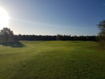 Golf-Golfplatzfahrrinnen und -GRÜNS Lizenzfreie Stockfotografie