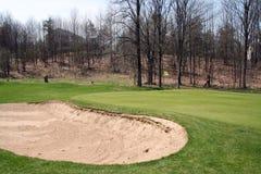 Golf-Grün und Bunker Stockfoto