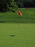 Golf-Grün und Markierungsfahne Lizenzfreie Stockfotos