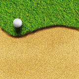Golf on grass course. Golf ball on grass course with sand space for your text or your design stock illustration