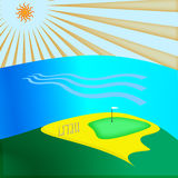 Golf green. Illustration of golf green and sea Royalty Free Illustration